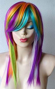 Spring Special // Rainbow Color wig. Long straight hair ...