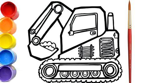 mantap menggambar dan mewarnai excavator retro untuk