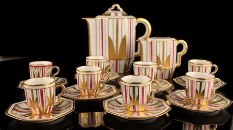 french art deco modernist limoges gilded coffee tea set