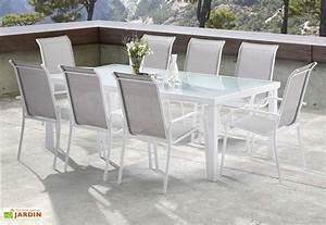 Table De Jardin Blanche : salon de jardin whitesun table 8 fauteuils blanc gris wilsa ~ Teatrodelosmanantiales.com Idées de Décoration