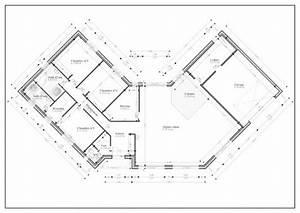 plan de maison en v plain pied gratuit With plan maison en v plain pied gratuit