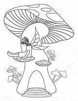Mushroom Coloring Magic Tree sketch template