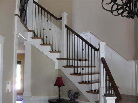 box newels wought iron traditional staircase
