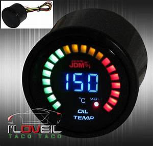 For 2 U0026quot  Digital Jdm Blue Led Oil Temperature Volt 52mm Race