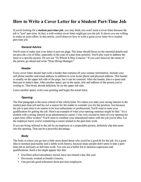 time resume cover letter part time cover letter cover letter