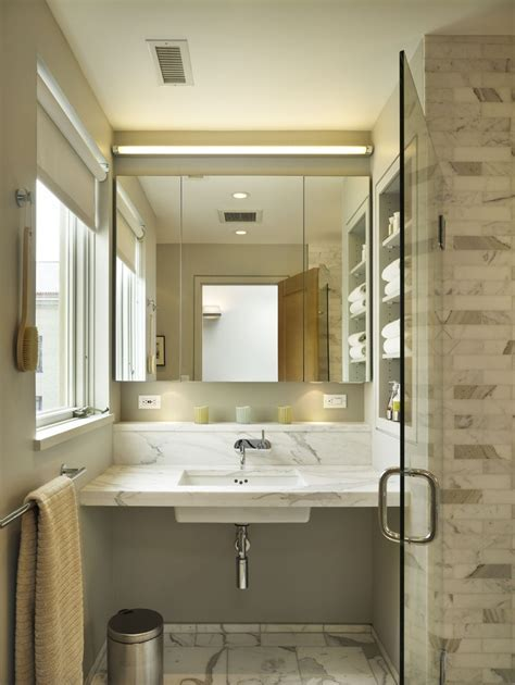 lighted medicine cabinet Bathroom Contemporary with built