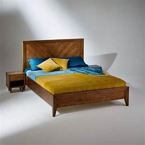 Lit Double Bois : lit double bradley en bois massif sommier 160 x 200 cm ~ Premium-room.com Idées de Décoration