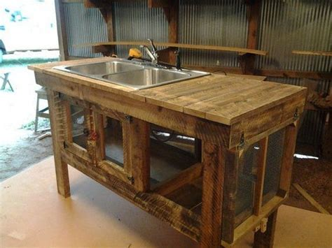 Turn a wooden cable spool into an outdoor kitchen or