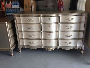 Hometalk Metallic Two toned Dresser and Side Table