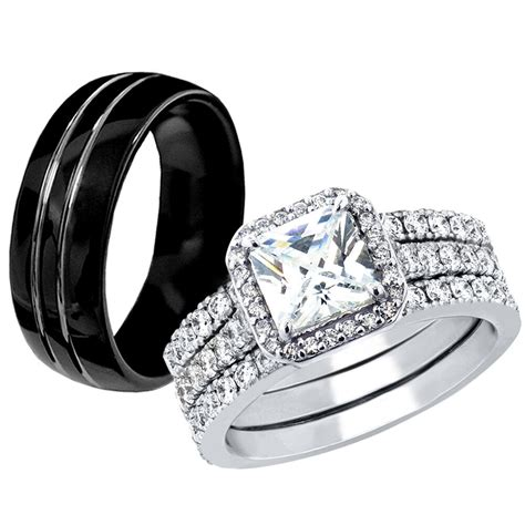 hers 925 sterling silver cz his black tungsten engagement wedding ring band sets ebay