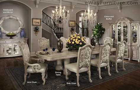 silver pearl double pedestal dining room table set