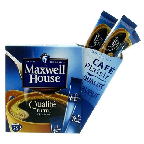 Café Soluble Maxwell House Qualité Filtre Décaféiné   25 sticks   Maxwell House