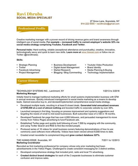 Bluesky Resumes by Social Media Specialist Free Resume Sles Blue Sky Resumes