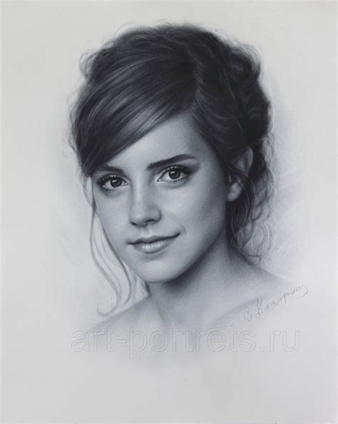 Emma Watson Drawing Portrait Dry Brush