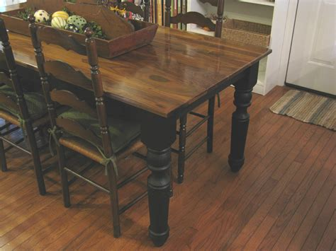 diy farmhouse dining table with oak wooden top and legs painted with black color plus antique