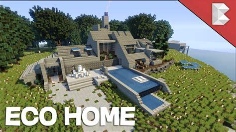 minecraft modern stone house eco home build   keralis youtube