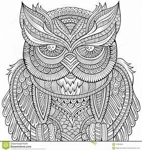 Decorative Ornamental Owl Background. Stock Vector - Image ...