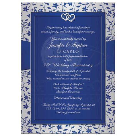thank you wedding postcards 25th wedding anniversary invitation royal blue silver floral joined hearts