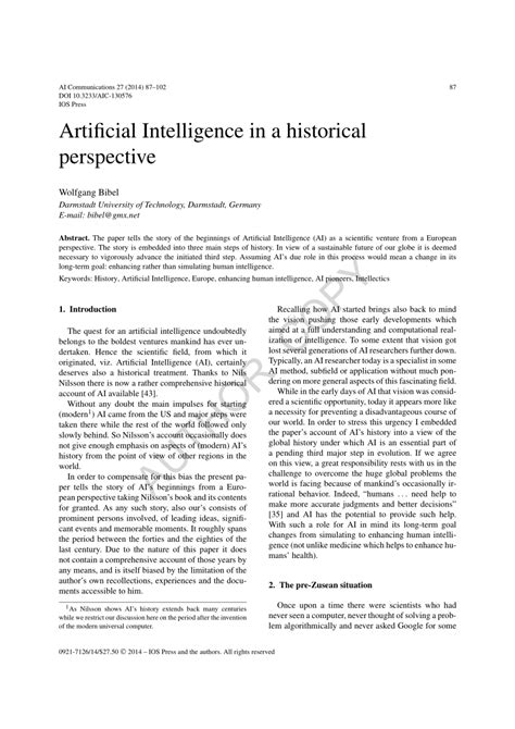 (PDF) Artificial Intelligence in a historical perspective