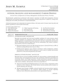 sle health and fitness resume fitness trainer and manager resume