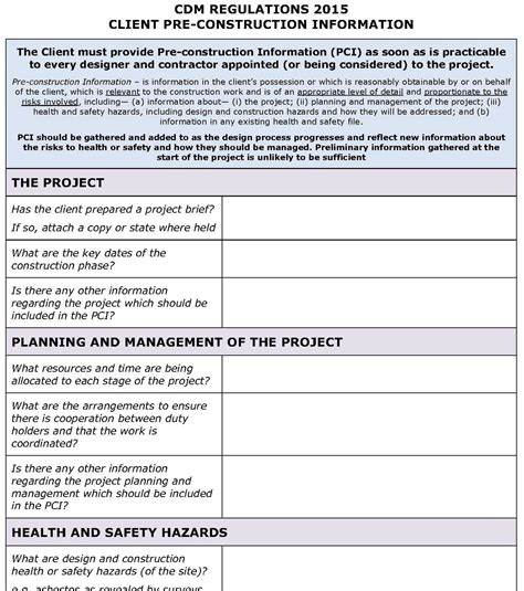 construction health and safety plan template cdm regulations 2015 client pci template pp construction safety news desk