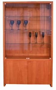 Bibliotheque Verre : biblioth que vitrine 2 portes pleines 2 portes verre merisier naturel bois 100 massif ~ Voncanada.com Idées de Décoration