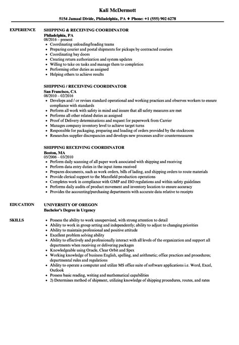 Shipping And Receiving Resume by Shipping Coordinator Resume Bijeefopijburg Nl
