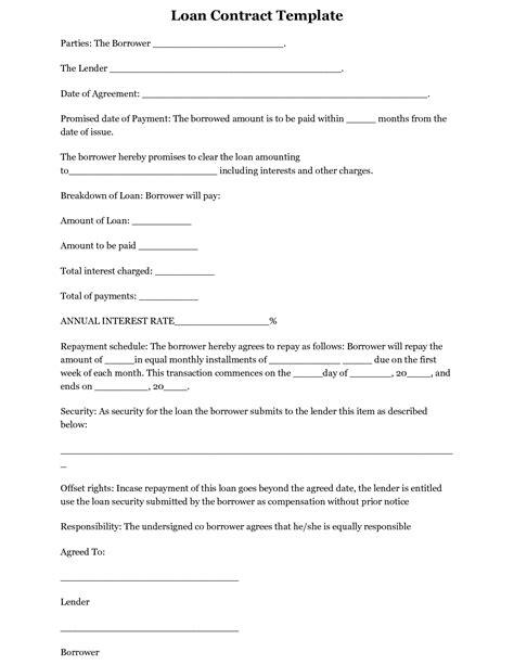 printable loan template form generic