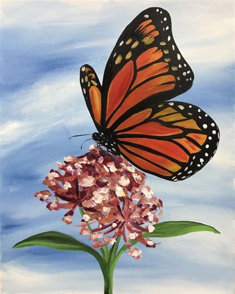 sip  paint monarch butterfly art studio