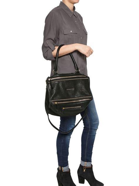 givenchy medium pandora studded shiny leather bag  black lyst