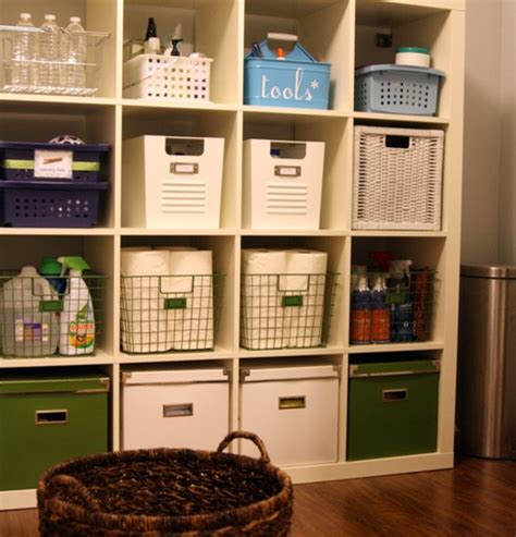 laundry room storage shelves with baskets home interiors