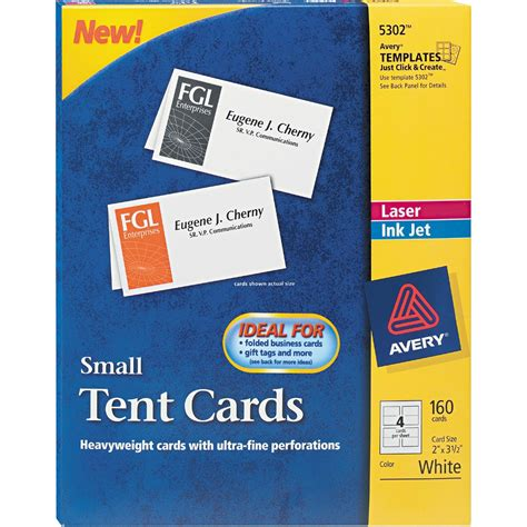 avery place card avery small tent card white 2 in x 3 1 2 in 4 cards per sheet 160 pk specialty paper