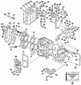 Johnson Cylinder  U0026 Crankcase Parts For 1990 30hp J30eless Outboard Motor