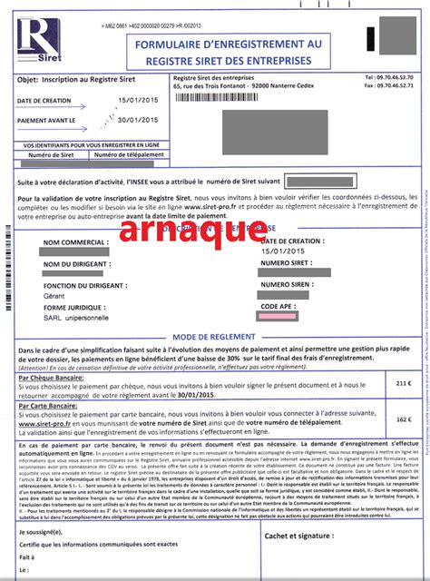 bureau enregistrement des entreprises arnaques entrepreneurs r siret formulaire d