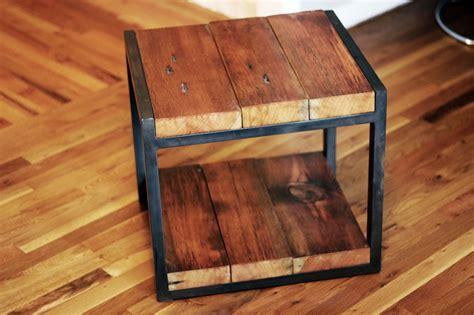wood and metal end tables custom reclaimed wood steel side table by barreto studios