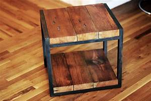 Metal And Woods : custom reclaimed wood steel side table by barreto studios ~ Melissatoandfro.com Idées de Décoration