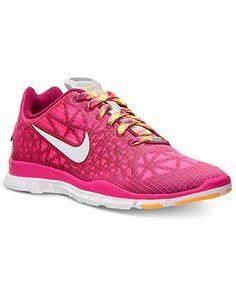 Neon blue and pink Nike running shoes