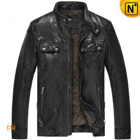 rugged leather jacket mens rugged black lambskin leather jacket cw850128
