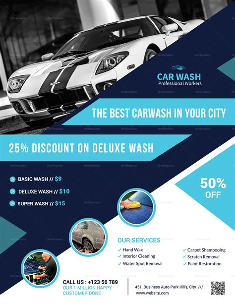 Get inspired by 89 professionally designed car wash & detailing flyers templates. Deluxe Car Wash Flyer Design Template in Word, PSD, Publisher