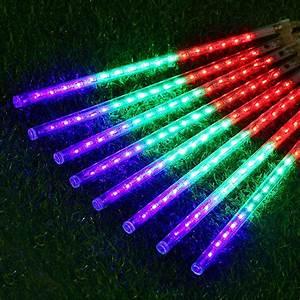50cm 8pcs meteor shower rain tube string light outdoor With outdoor string lights in rain