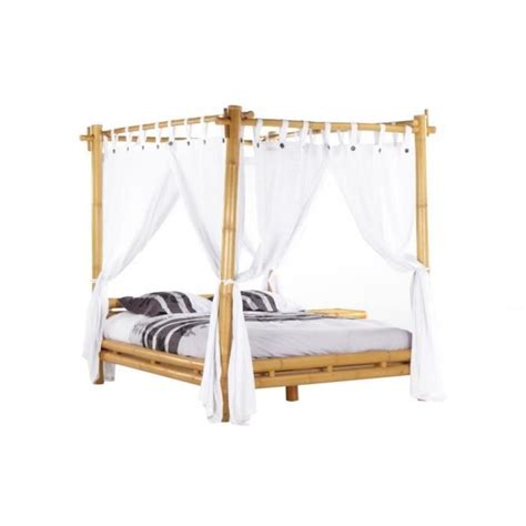 lit a baldaquin pas cher lit 224 baldaquin malindi avec voilage 160x200cm bambou achat vente lit pas cher couleur