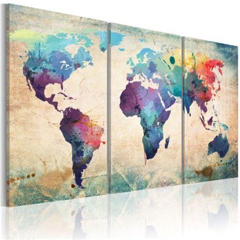 carte de murale grand format grand format impression sur toile images 3 carte du monde tableau 020113 50 120x60 cm b