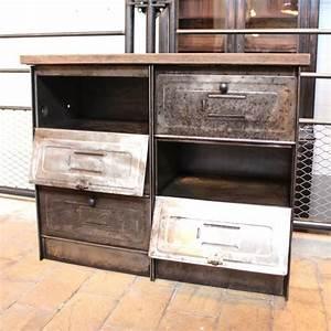 Mobilier Industriel Ancien : mobilier industriel ancien meuble administratif 8 clapets ~ Teatrodelosmanantiales.com Idées de Décoration