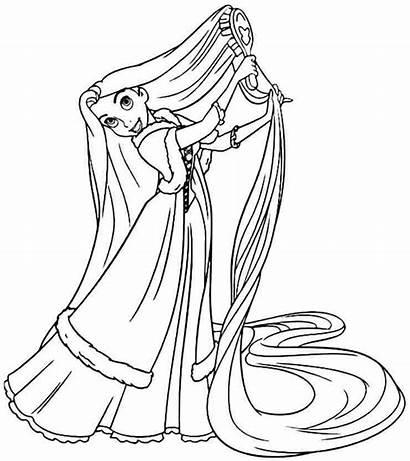 Coloring Tangled Princess Pages Rapunzel Disney Face