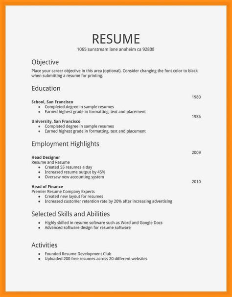 simple cv format  job jadegardenwicom