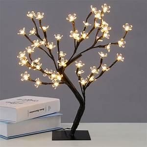 LED Cherry Blossom Desk Bonsai Tree Light Table Fairy Twig