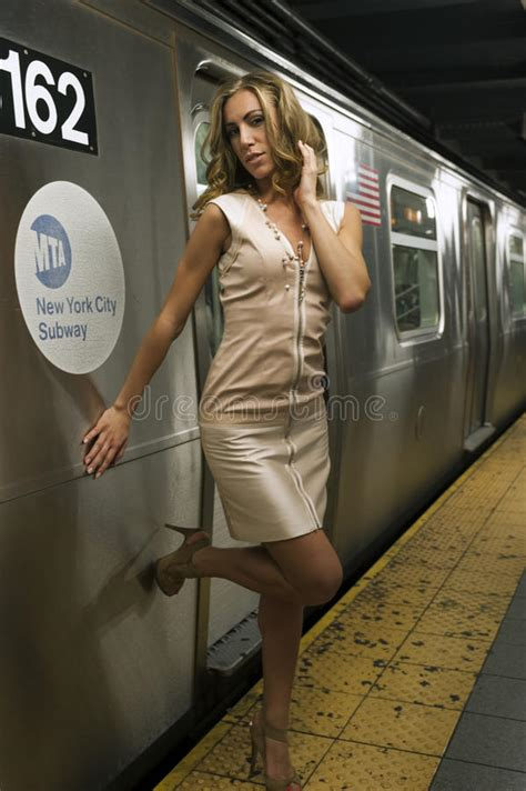 Girl Standing At Nyc Subway Royalty Free Stock Images Image