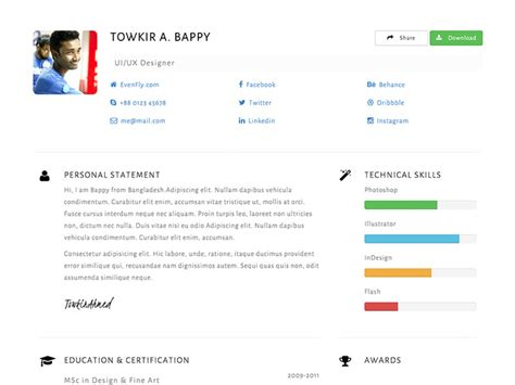 Bootstrap Template Curriculum Vitae Free by Cvstrap Bootstrap Resume Free Template