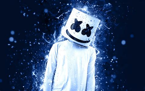 4k Resolution Neon Marshmello Wallpaper 3d by Wallpapers 4k Dj Marshmello Blue Neon