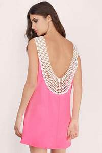 Neon Pink Shift Dress Pink Dress U Neck Dress $11 00